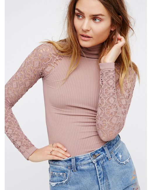 Free People - Pink Rib And Lace Turtleneck - Lyst