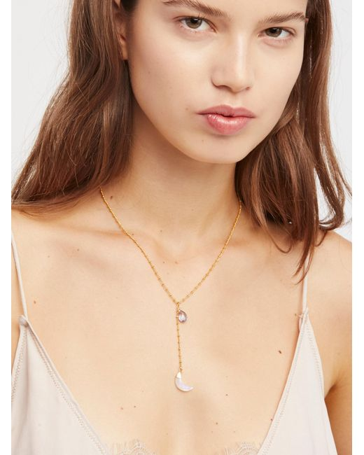 Free People | Natural Raw Stone Charm Lariat | Lyst