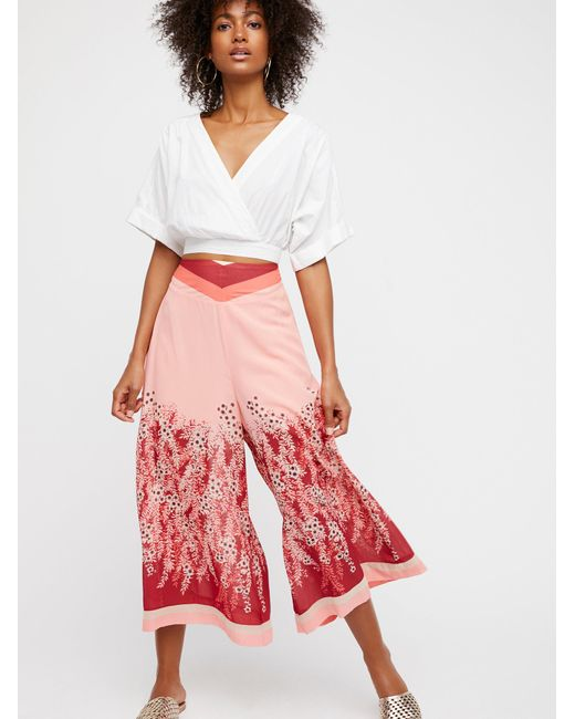 Free People | Red Off The Grid Printed Culottes | Lyst