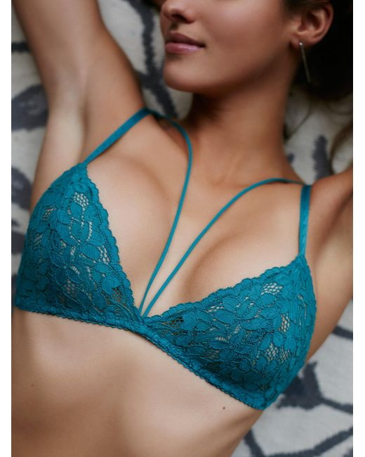 Free People | Blue Front Strap Triangle Bra | Lyst