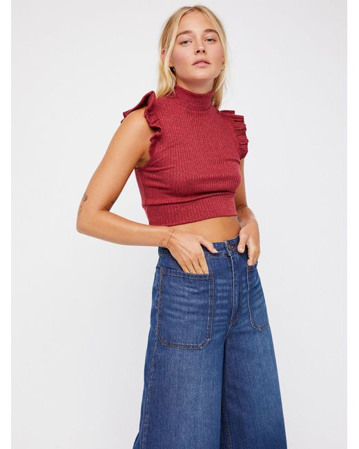 Free People - Red The Betsey Crop - Lyst