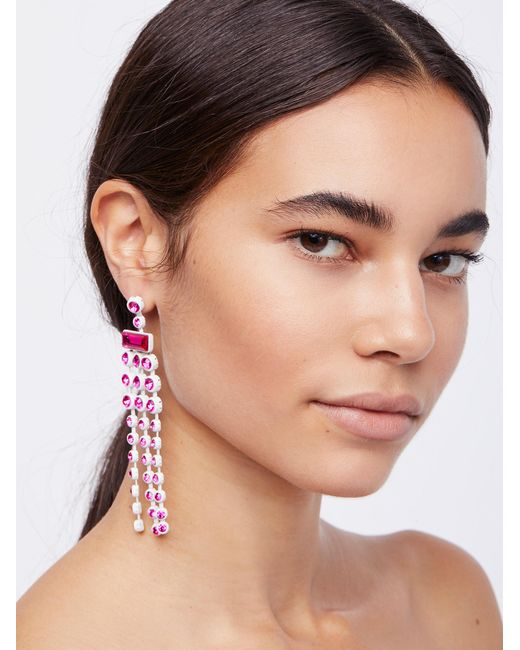 Free People | Pink Palmdale Color Crystal Earrings | Lyst
