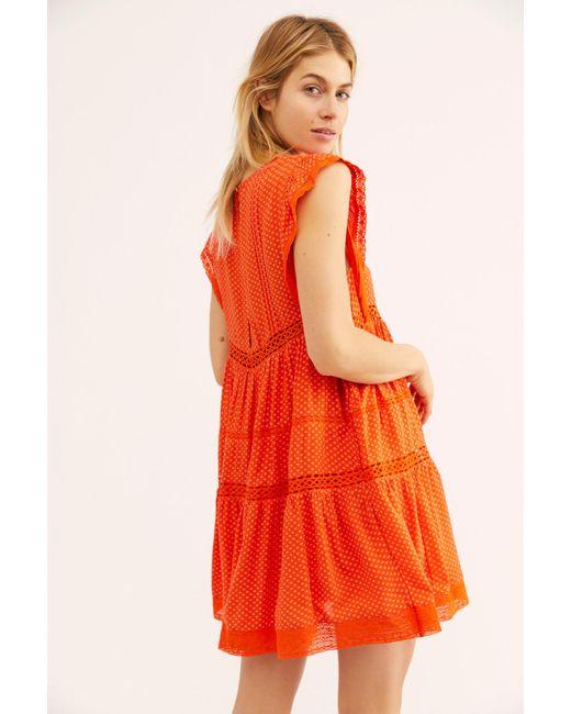 ae7cbc61e4b0 Free People - Orange Retro Kitty Dress - Lyst ...