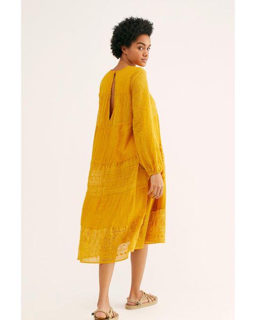 128b173d72ea8 ... Free People - Yellow Gemma Midi Dress - Lyst ...