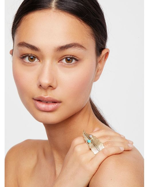 Free People | Brown Brass Crosshand Feather Ring | Lyst