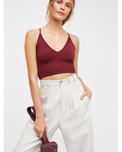 Free People - Red Ribbed V-neck Brami - Lyst
