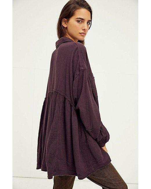 Free People Purple Anaheim Double Cloth Top