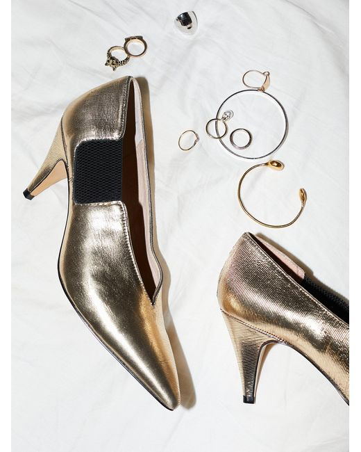 Free People | Metallic Shoes Heels & Wedges Leather Florence Heel | Lyst