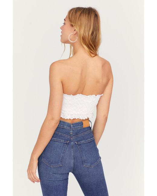 bef2583638a Free People - White Eyelet Corset Tube - Lyst ...