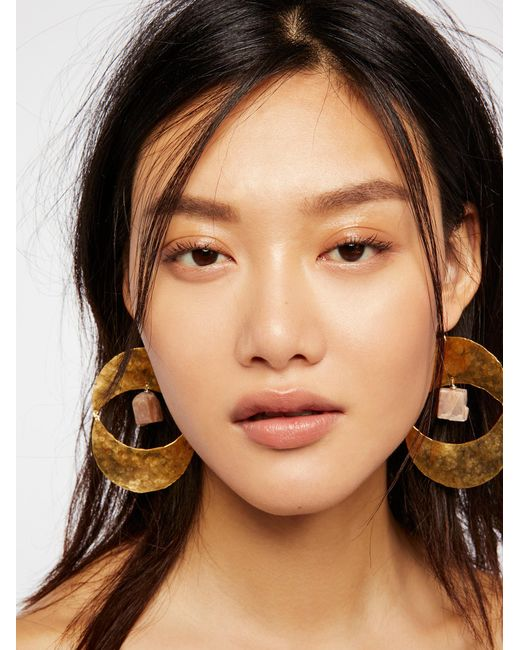 Free People - Brown Rising Sun Turquoise Earrings - Lyst