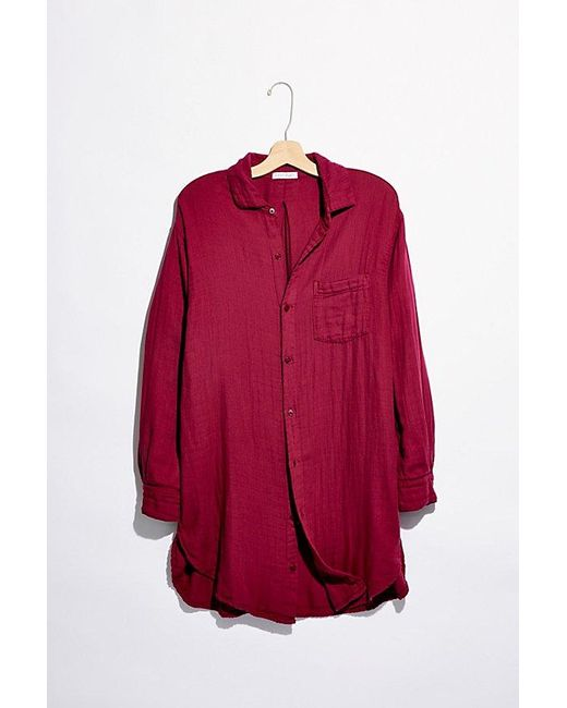 Free People Red Double Cloth Buttondown Shirt
