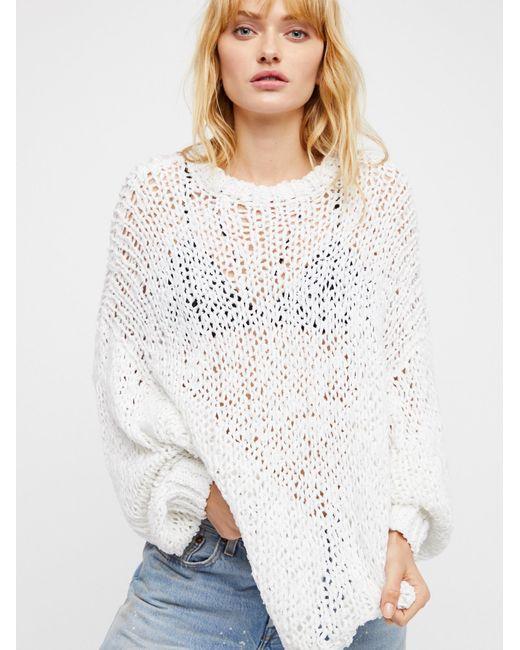 Free People | White Beach Girl Sweater | Lyst