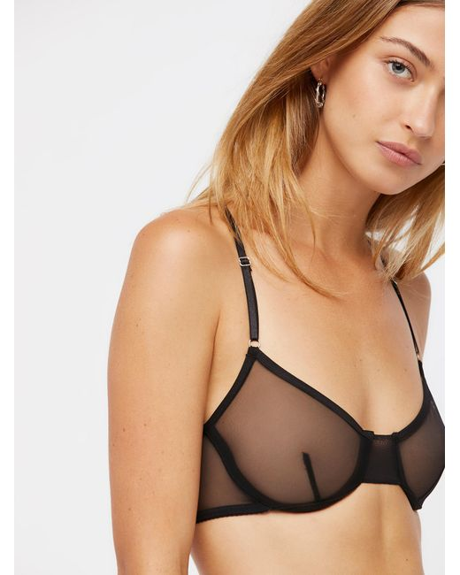Free People - Black Whisper Racerback Underwire Bra Whisper Thong - Lyst