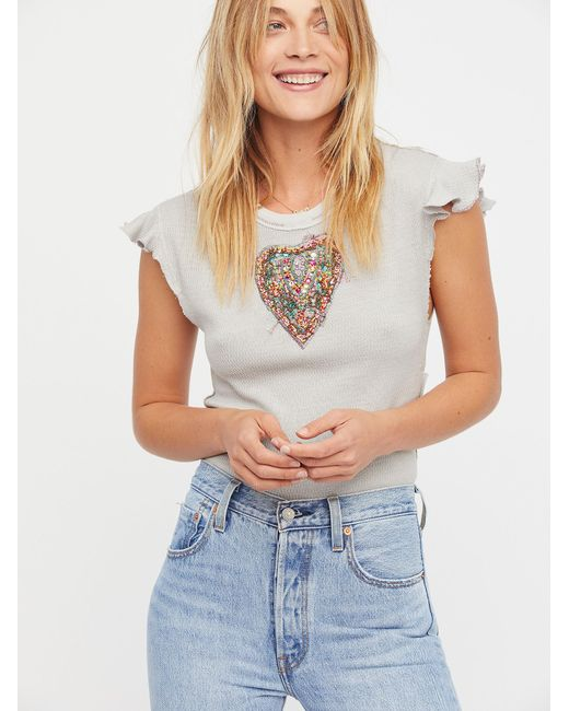 Free People   Gray We The Free Sweetheart Top   Lyst
