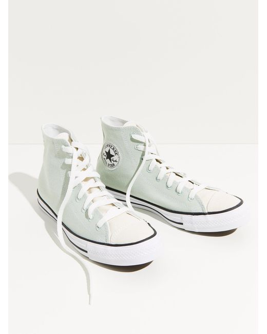Free People White Chuck Taylor All Star Recycled Hi-top Converse Sneakers