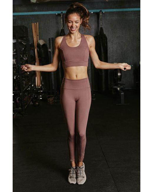 Free People Brown High-rise 7/8 Length You're A Peach Legging By Fp Movement