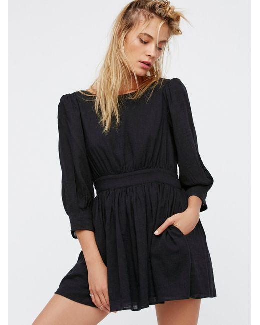 Free People | Black Antigua Mini Dress | Lyst