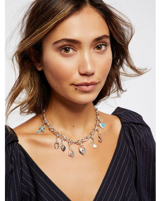 Free People | Metallic Mix N Match Charm Necklace | Lyst