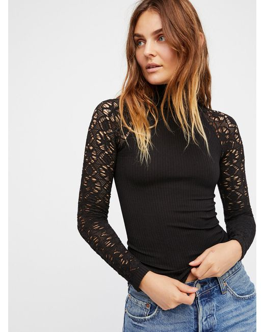 Free People - Black Rib And Lace Turtleneck - Lyst