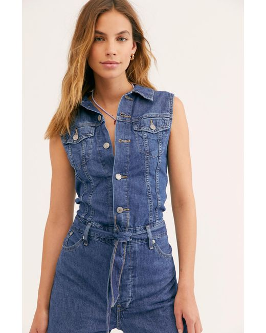017d9a5b4daf Free People - Blue Levi s Cropped Taper Jumpsuit By Levi s - Lyst ...
