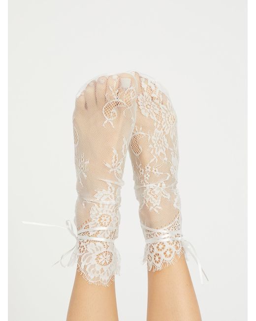 Free People - White Margot Lace Crew Sock - Lyst