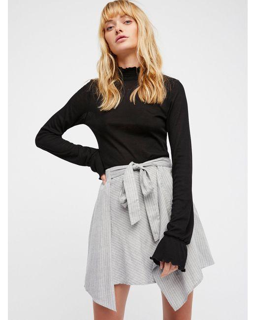 Free People   Gray Blue Skies Striped Mini Skirt   Lyst