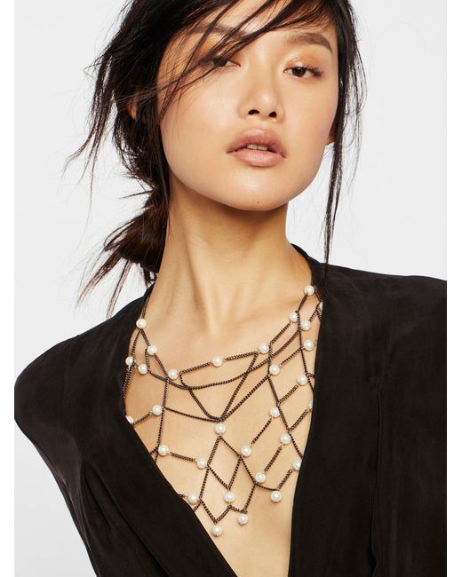 Free People | Multicolor Pearl Chain Halter | Lyst