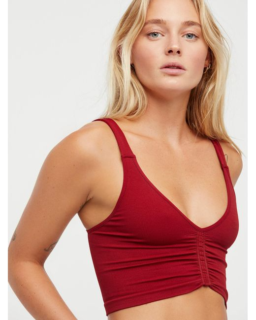 Free People | Red Seamless Corset Crop | Lyst