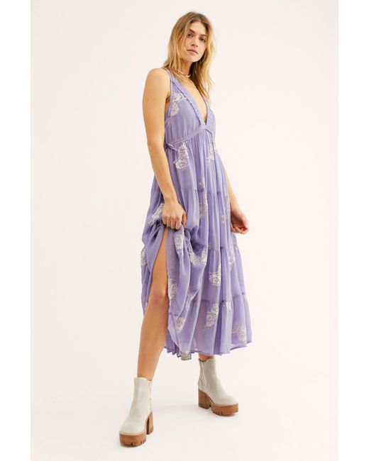 Free People Purple Run Away With Me Embroidered Midi Dress