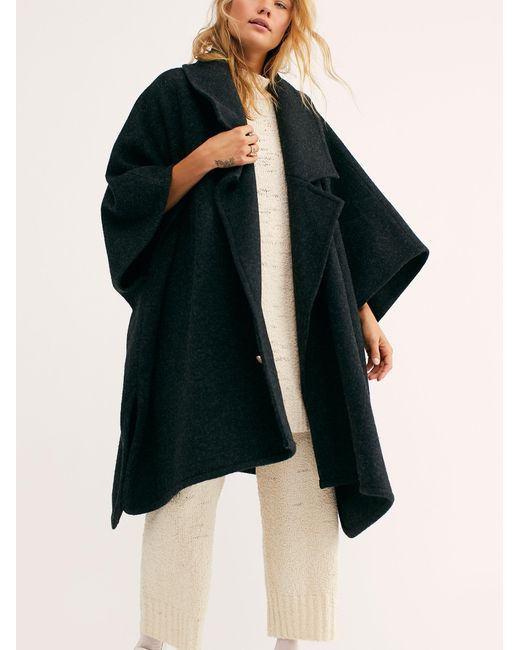 Free People Black Off Duty Oversized Poncho