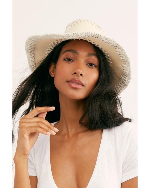 Free People - White Joanna Cotton Sun Hat By Brixton - Lyst