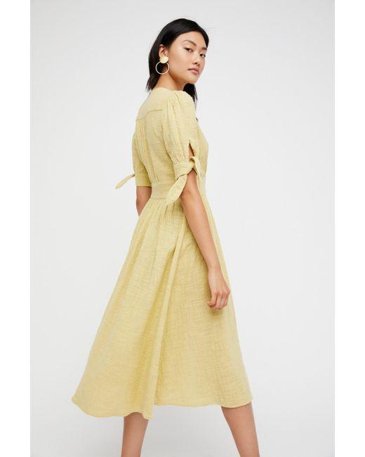 Free People Yellow Love Of Life Midi Dress