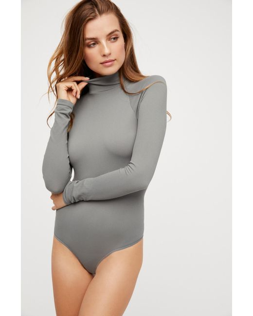 Free People Gray Seamless Polo Neck Bodysuit By Intimately