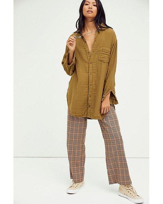 Free People Multicolor Double Cloth Buttondown Shirt