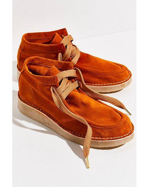 Free People Orange Ashton Ankle Boots
