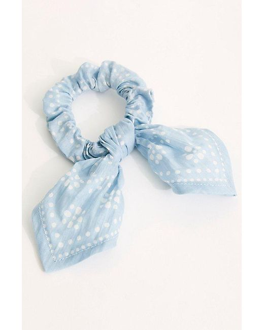 Free People Blue Knotted Bandana Pony Scrunchie