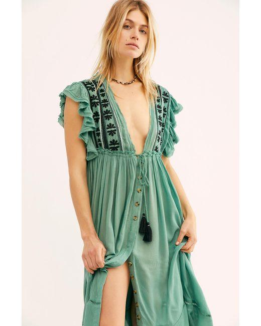 c7b346b477 ... Free People - Green Bali Will Wait For You Midi Dress - Lyst ...