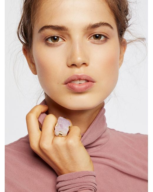 Free People | Brown Large Raw Stone Ring | Lyst