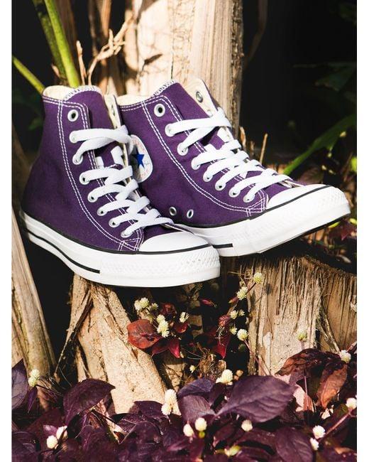 Free People | Purple Charlie Hi Top Converse | Lyst