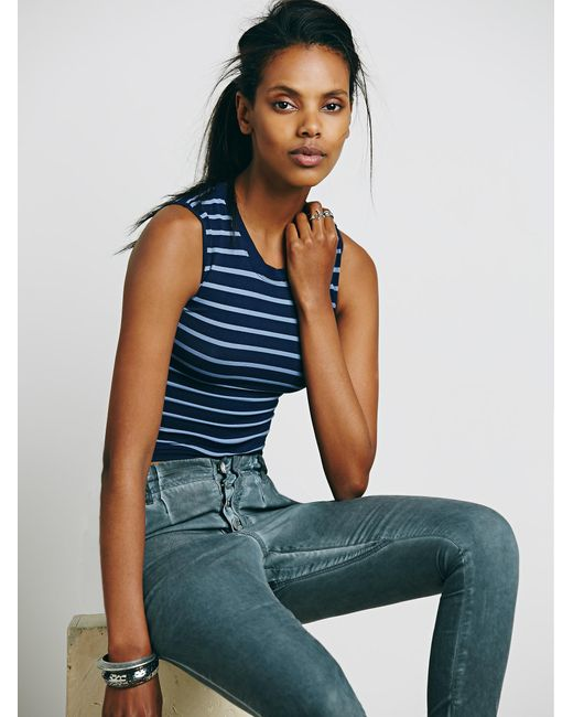 Free People | Blue Cropped Muscle Tank | Lyst