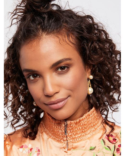 Free People | Multicolor Accessories Jewelry Earrings Cradled Double Pearl Earrings | Lyst