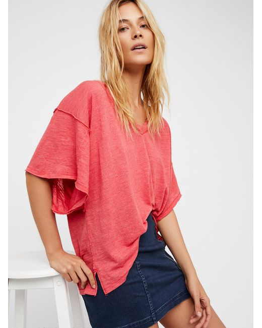 Free People | Red We The Free My Boyfriend's Tee | Lyst