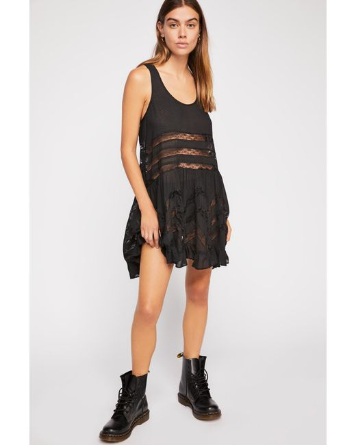 Free People Black Voile And Lace Trapeze Slip By Intimately - Chemise