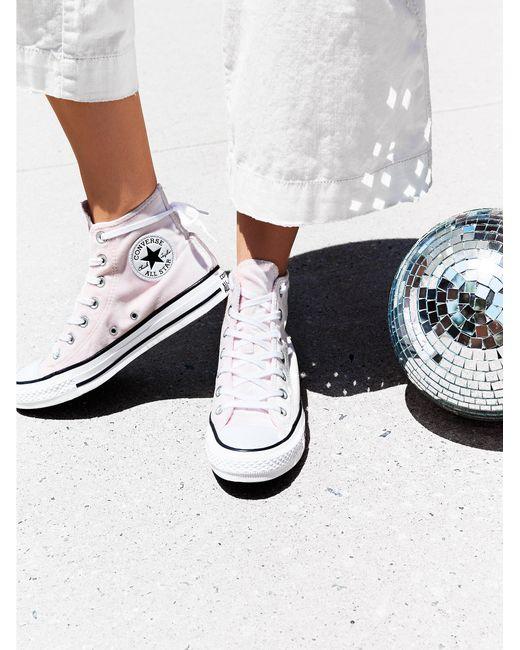 Free People | Pink Velvet High Top Sneakers | Lyst