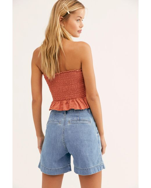2b1b9a0370 ... Free People - Blue Lee Pleated Shorts - Lyst