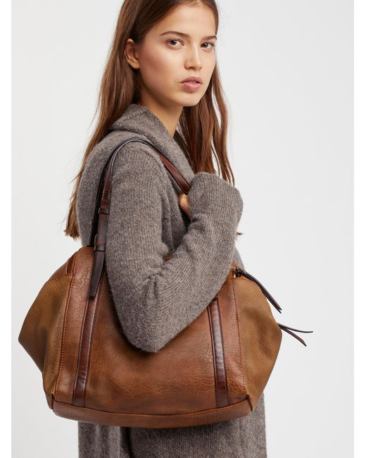 Free People | Brown Avery Washed Tote | Lyst