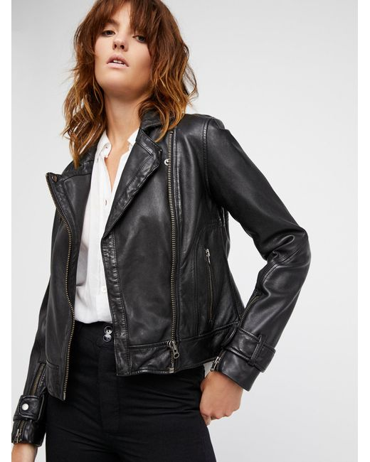 Free People | Black Washed Leather Moto Jacket | Lyst