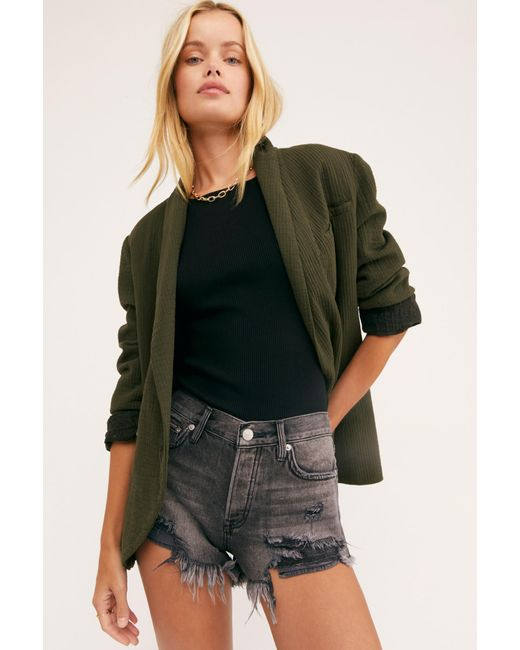 Free People Women's Black Loving Good Vibrations Cutoffs By We The