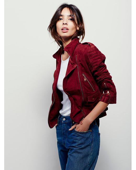 Free People | Red Doma Suede Moto Jacket | Lyst