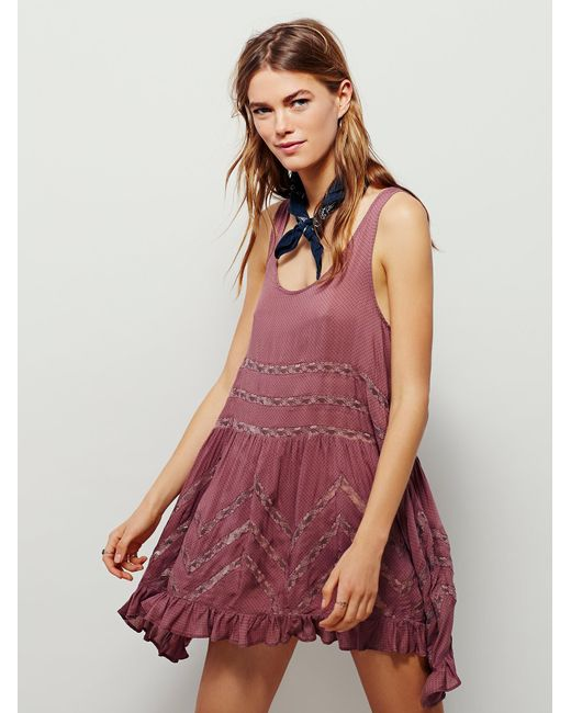 Free People   Purple Voile And Lace Trapeze Slip   Lyst